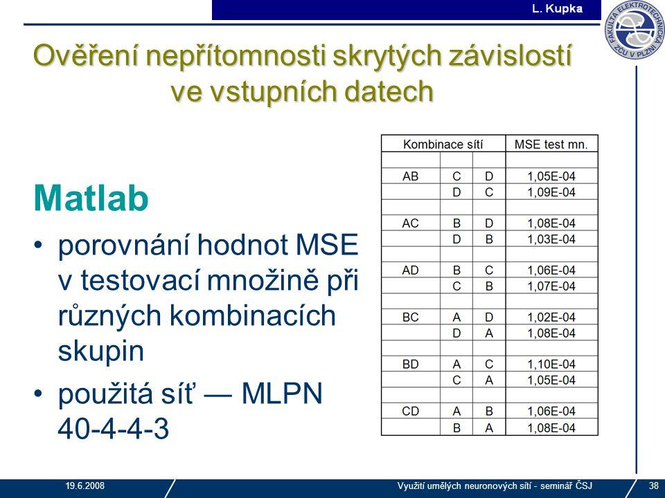 J. Tupa 19.6.2008Využití umělých neuronových sítí - seminář ČSJ38 Ověření nepřítomnosti skrytých závislostí ve vstupních datech Matlab porovnání hodno