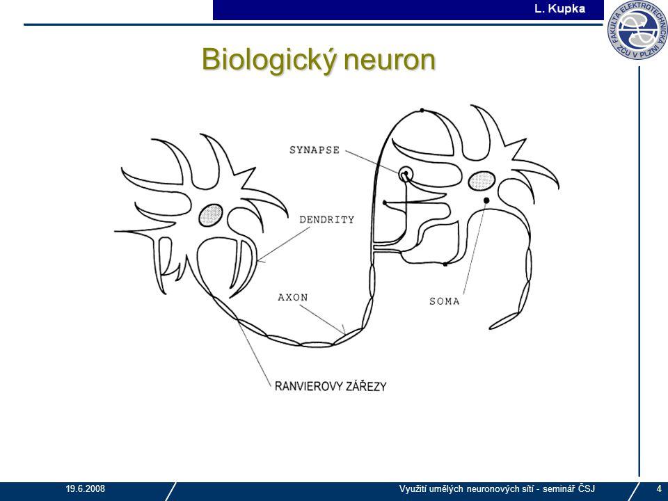 J. Tupa 19.6.2008Využití umělých neuronových sítí - seminář ČSJ4 Biologický neuron