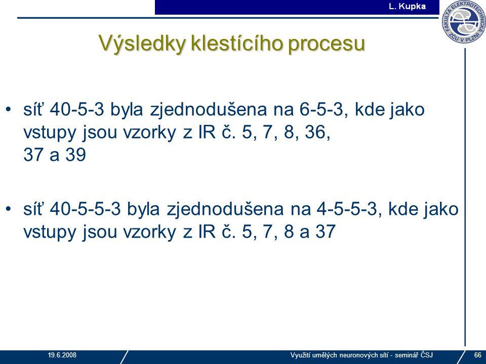 J. Tupa 19.6.2008Využití umělých neuronových sítí - seminář ČSJ66 Výsledky klestícího procesu síť 40-5-3 byla zjednodušena na 6-5-3, kde jako vstupy j