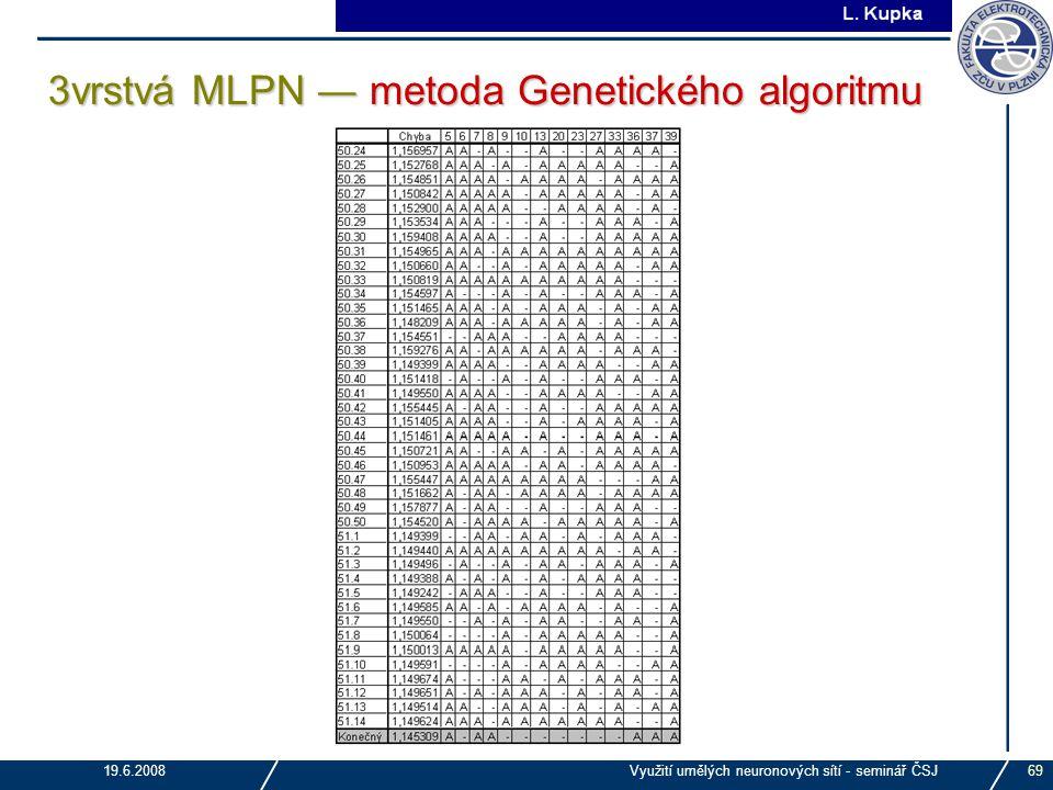 J. Tupa 19.6.2008Využití umělých neuronových sítí - seminář ČSJ69 3vrstvá MLPN ― metoda Genetického algoritmu