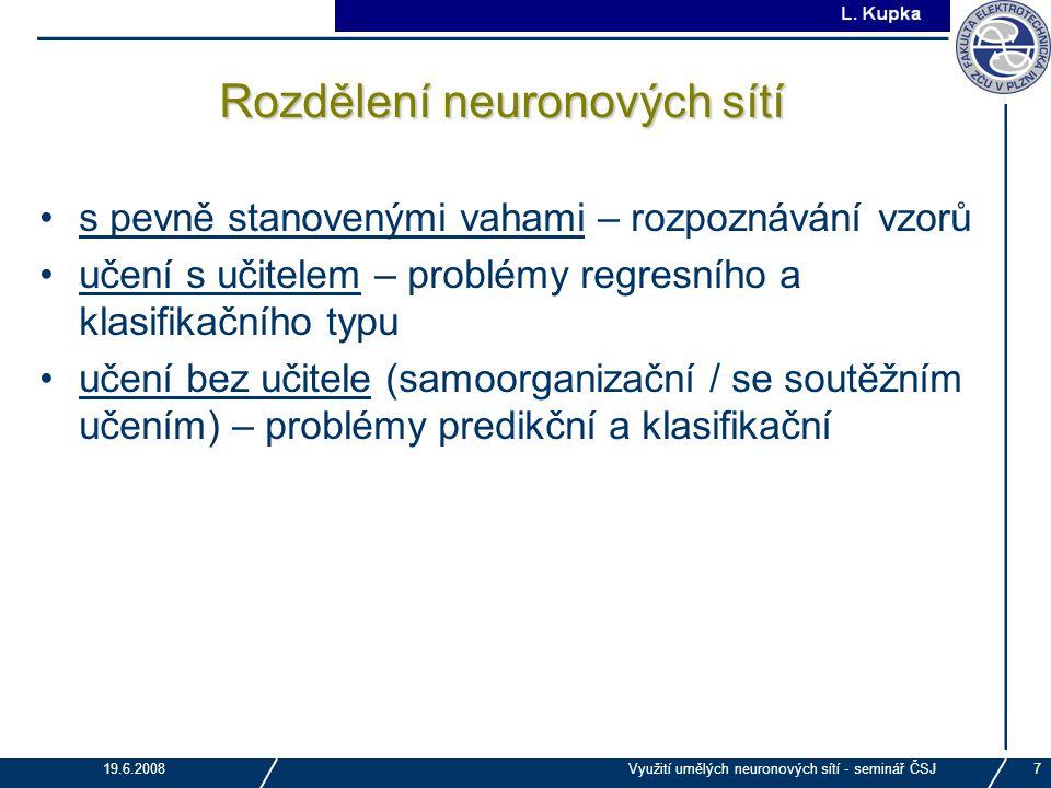 J. Tupa 19.6.2008Využití umělých neuronových sítí - seminář ČSJ7 Rozdělení neuronových sítí s pevně stanovenými vahami – rozpoznávání vzorů učení s uč