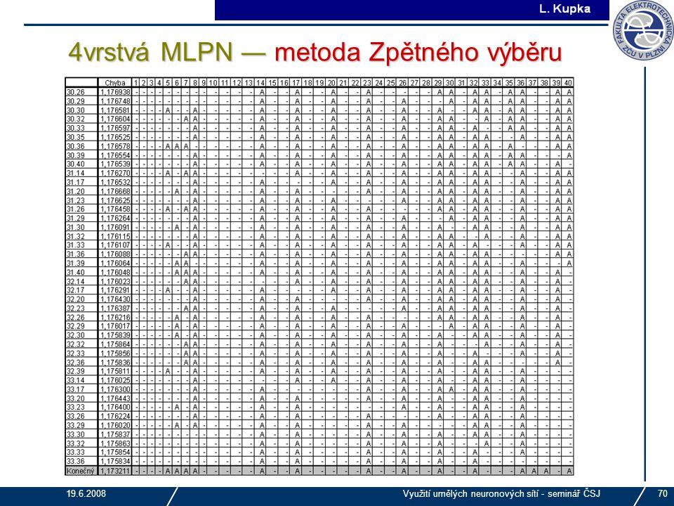 J. Tupa 19.6.2008Využití umělých neuronových sítí - seminář ČSJ70 4vrstvá MLPN ― metoda Zpětného výběru