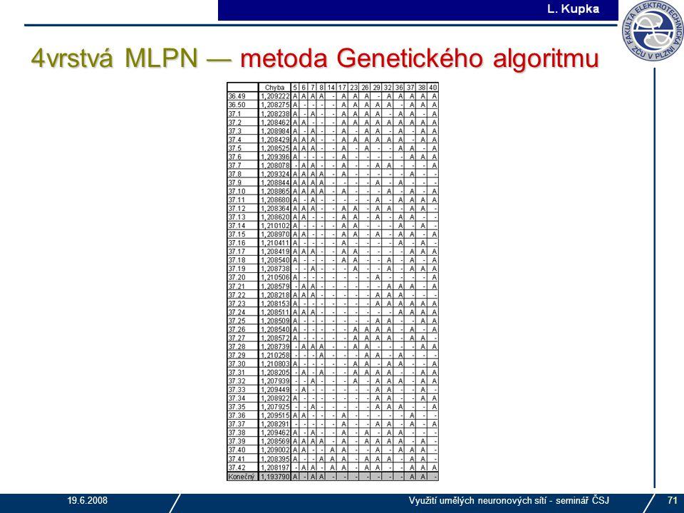 J. Tupa 19.6.2008Využití umělých neuronových sítí - seminář ČSJ71 4vrstvá MLPN ― metoda Genetického algoritmu