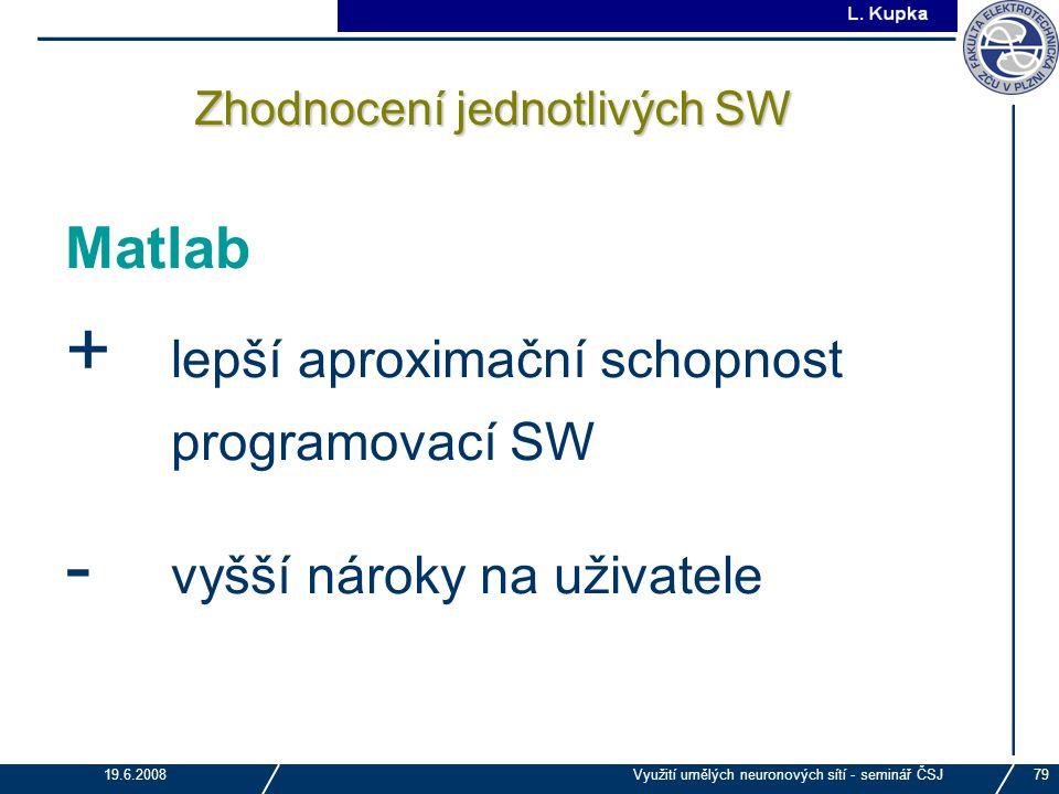 J. Tupa 19.6.2008Využití umělých neuronových sítí - seminář ČSJ79 Zhodnocení jednotlivých SW Matlab + lepší aproximační schopnost programovací SW - vy