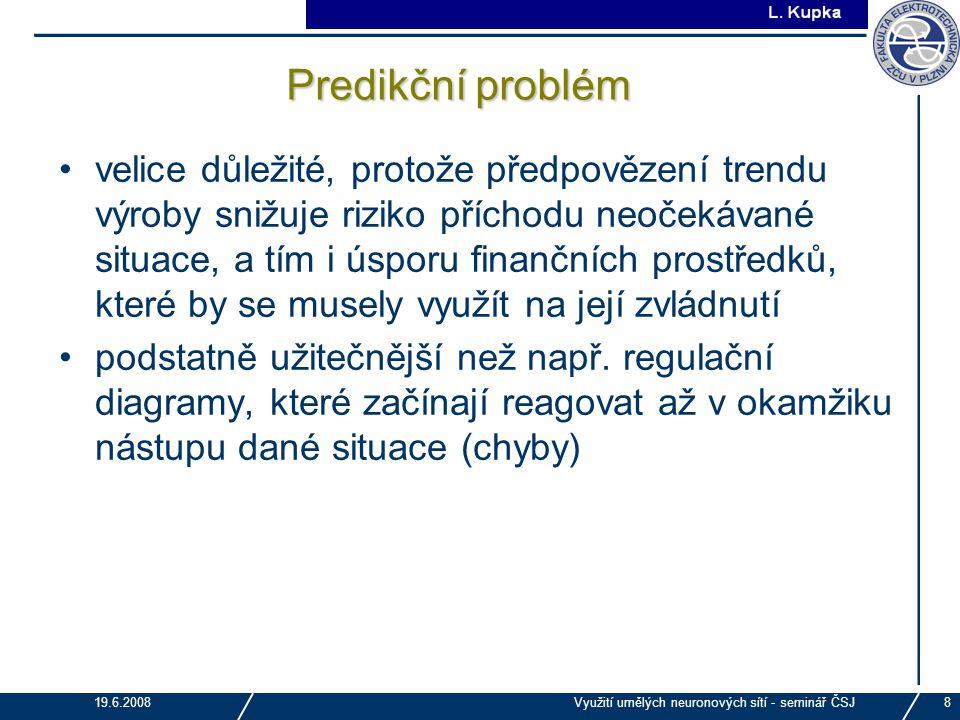 J. Tupa 19.6.2008Využití umělých neuronových sítí - seminář ČSJ8 Predikční problém velice důležité, protože předpovězení trendu výroby snižuje riziko