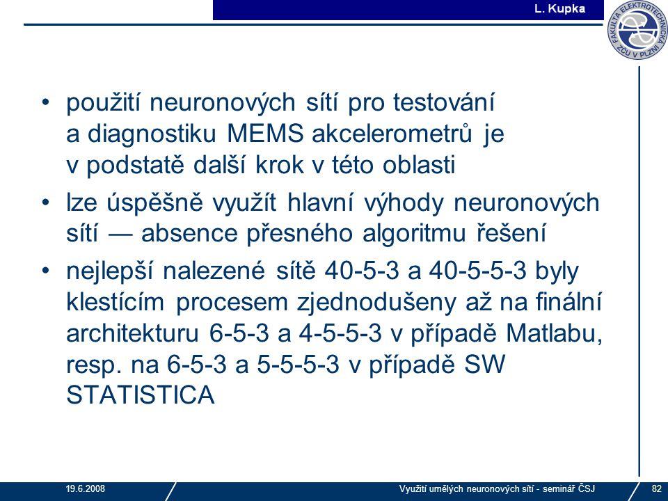 J. Tupa 19.6.2008Využití umělých neuronových sítí - seminář ČSJ82 použití neuronových sítí pro testování a diagnostiku MEMS akcelerometrů je v podstat