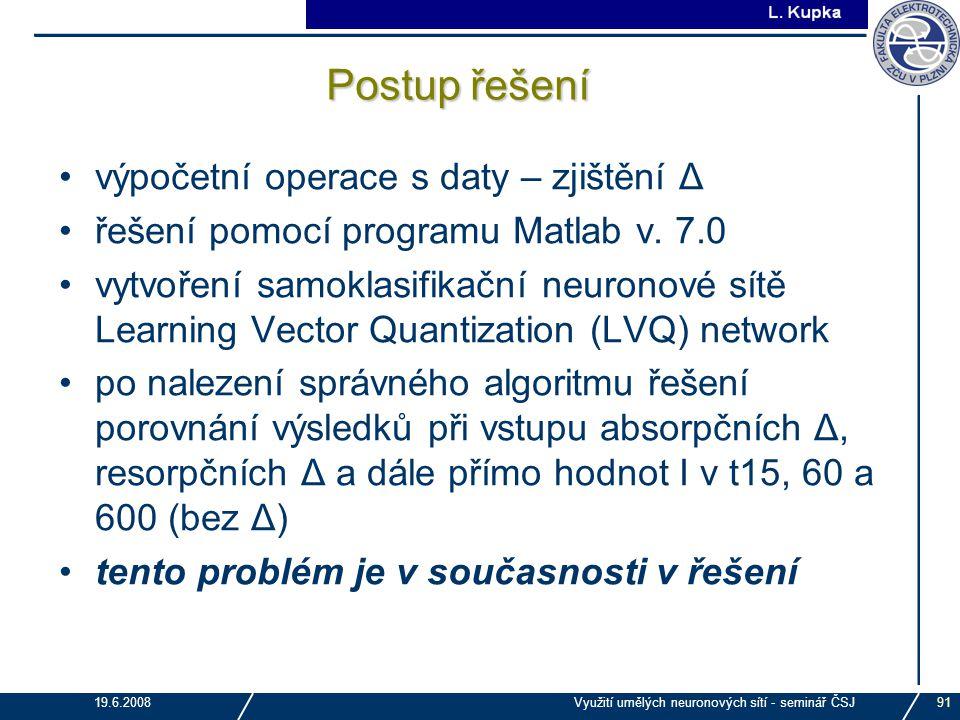 J. Tupa 19.6.2008Využití umělých neuronových sítí - seminář ČSJ91 Postup řešení výpočetní operace s daty – zjištění Δ řešení pomocí programu Matlab v.
