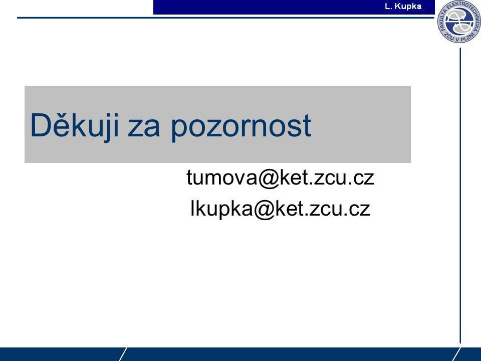 J. Tupa Děkuji za pozornost tumova@ket.zcu.cz lkupka@ket.zcu.cz