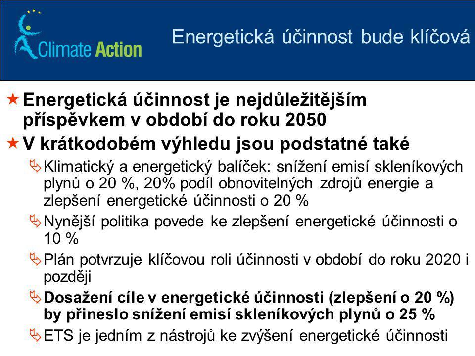 21 Energetická účinnost bude klíčová  Energetická účinnost je nejdůležitějším příspěvkem v období do roku 2050  V krátkodobém výhledu jsou podstatné