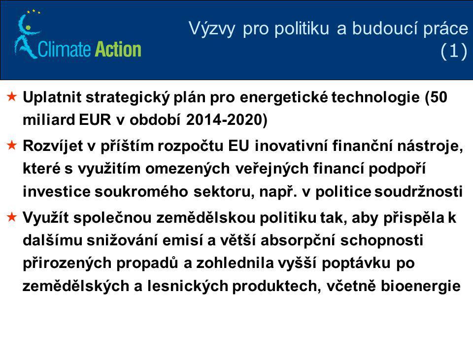 27 Výzvy pro politiku a budoucí práce (1)  Uplatnit strategický plán pro energetické technologie (50 miliard EUR v období 2014-2020)  Rozvíjet v pří
