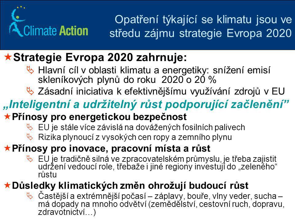 5 Opatření týkající se klimatu jsou ve středu zájmu strategie Evropa 2020  Strategie Evropa 2020 zahrnuje:  Hlavní cíl v oblasti klimatu a energetik