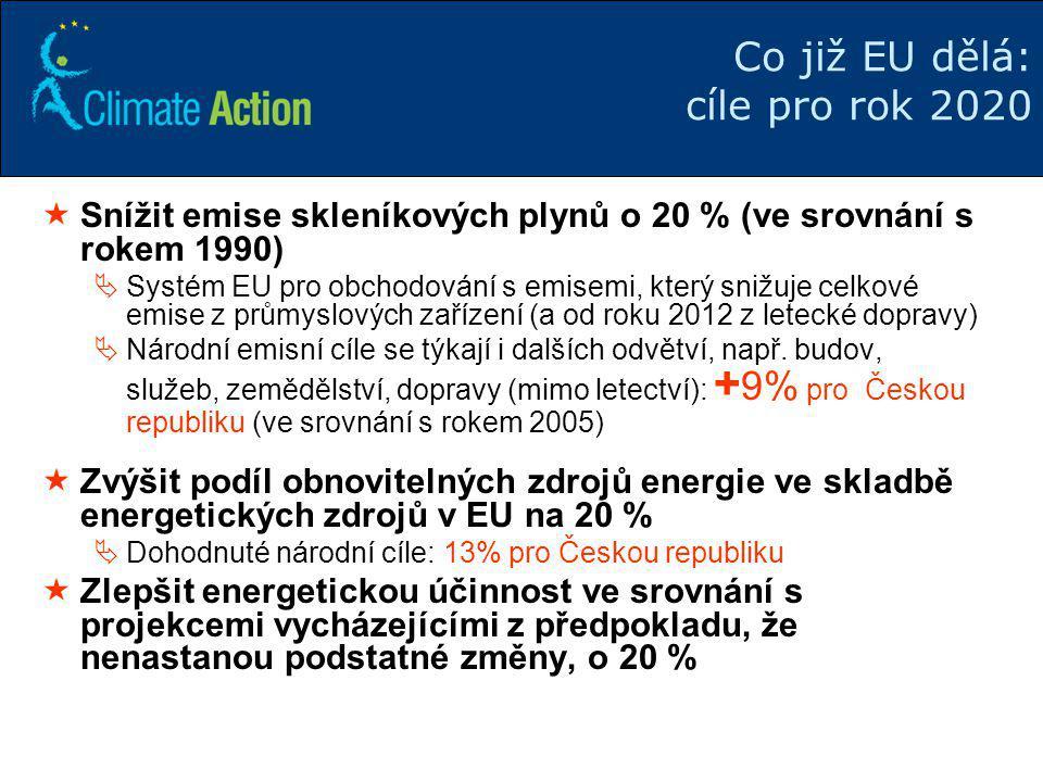 7 Co již EU dělá: cíle pro rok 2020  Snížit emise skleníkových plynů o 20 % (ve srovnání s rokem 1990)  Systém EU pro obchodování s emisemi, který s