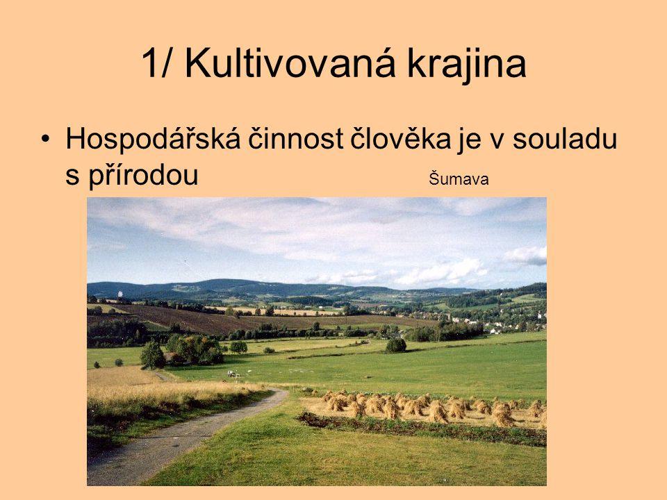 1/ Kultivovaná krajina Hospodářská činnost člověka je v souladu s přírodou Šumava