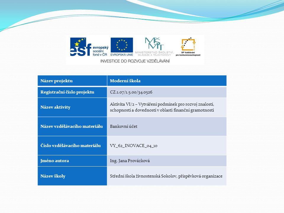 Název projektuModerní škola Registrační číslo projektuCZ.1.07/1.5.00/34.0526 Název aktivity Aktivita VI/2 – Vytváření podmínek pro rozvoj znalostí, sc