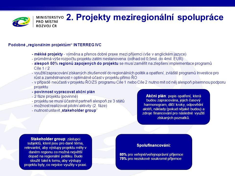 2. Projekty meziregionální spolupráce Akční plán: popis opatření, která budou zapracována, jejich časový harmonogram, dílčí kroky, odpovědní aktéři, n