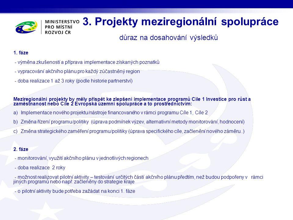 3.Projekty meziregionální spolupráce důraz na dosahování výsledků 1.