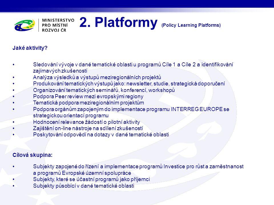 2.Platformy (Policy Learning Platforms) Jaké aktivity.