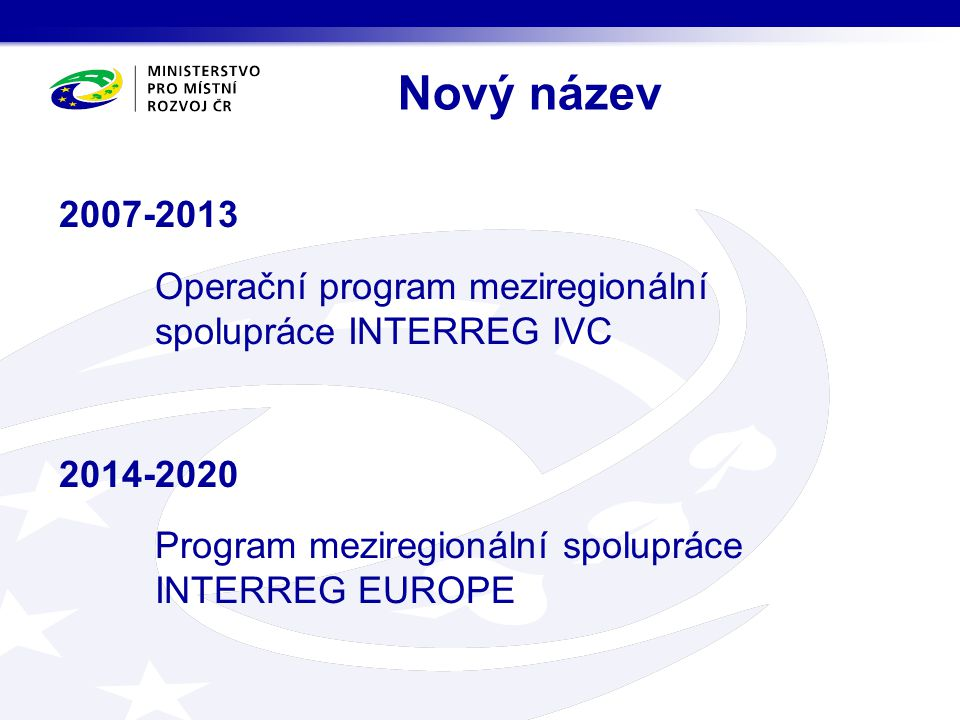 Rozšíření území programu Programové území: EU 28 (+Chorvatsko) Norsko Švýcarsko I nadále bude funkci řídícího orgánu vykonávat: Regionální rada regionu Nord Pas-de Calais se sídlem v Lille