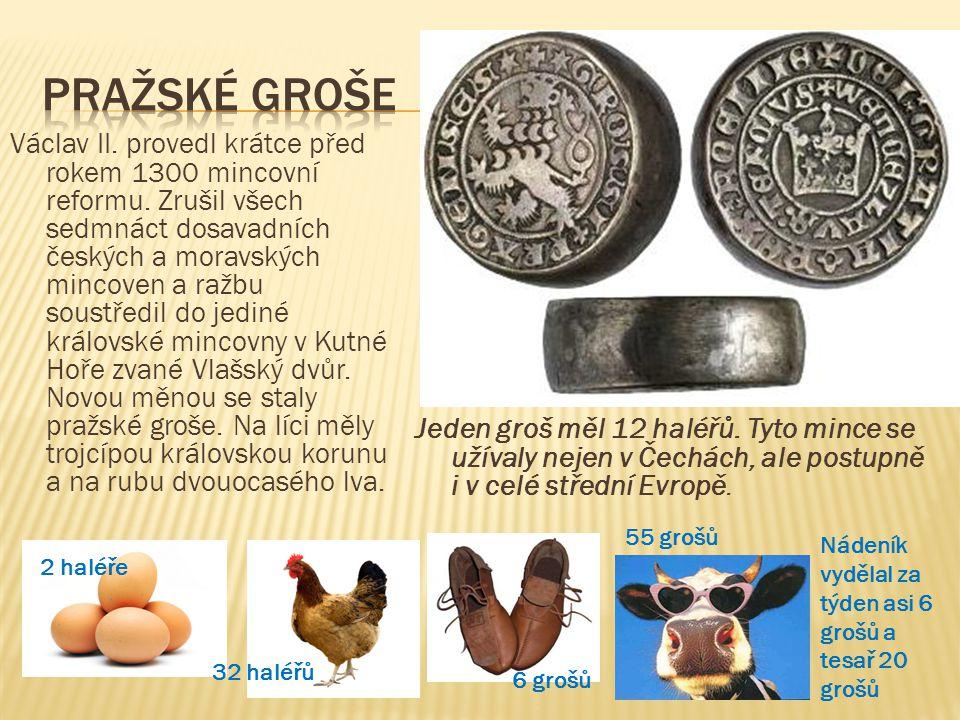Václav II. provedl krátce před rokem 1300 mincovní reformu. Zrušil všech sedmnáct dosavadních českých a moravských mincoven a ražbu soustředil do jedi