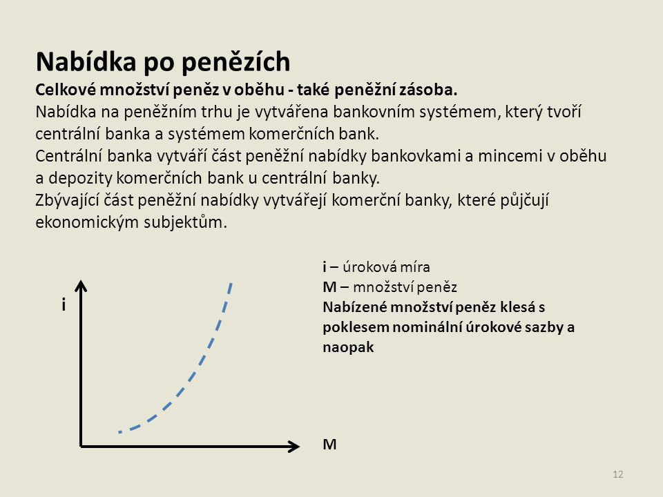 Nabídka po penězích Celkové množství peněz v oběhu - také peněžní zásoba. Nabídka na peněžním trhu je vytvářena bankovním systémem, který tvoří centrá