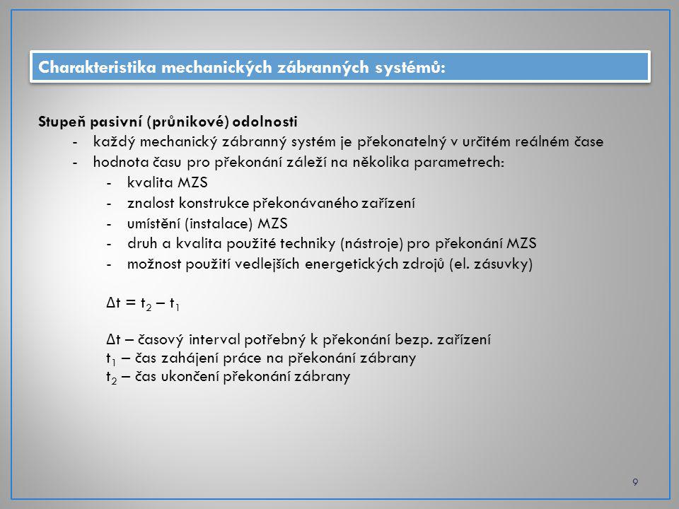 Charakteristika mechanických zábranných systémů: 9 Stupeň pasivní (průnikové) odolnosti -každý mechanický zábranný systém je překonatelný v určitém reálném čase -hodnota času pro překonání záleží na několika parametrech: -kvalita MZS -znalost konstrukce překonávaného zařízení -umístění (instalace) MZS -druh a kvalita použité techniky (nástroje) pro překonání MZS -možnost použití vedlejších energetických zdrojů (el.