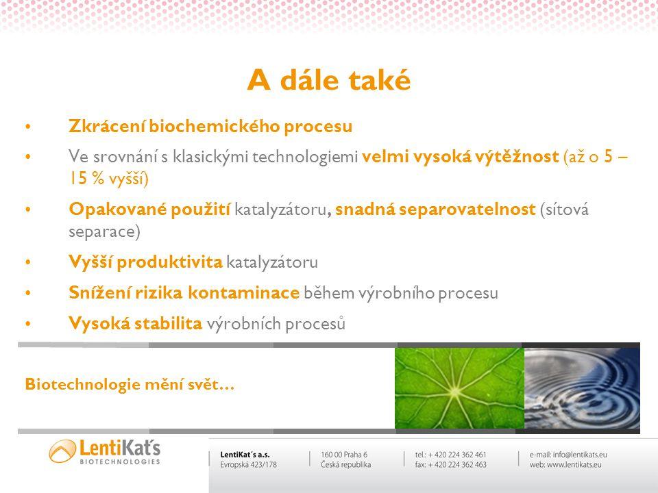 A dále také Zkrácení biochemického procesu Ve srovnání s klasickými technologiemi velmi vysoká výtěžnost (až o 5 – 15 % vyšší) Opakované použití katal
