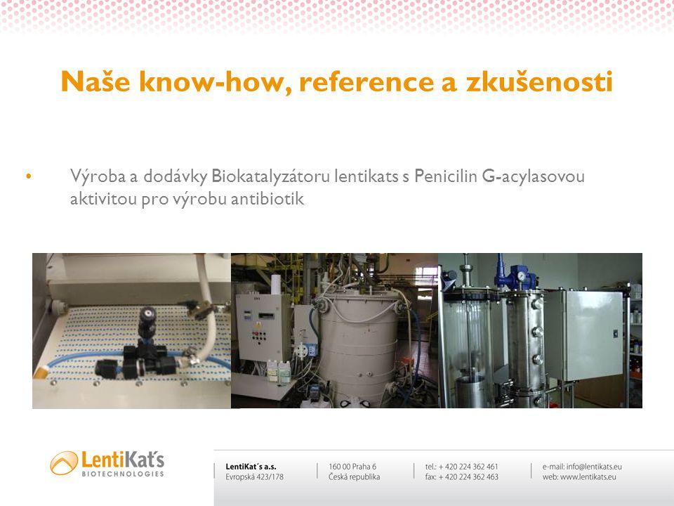 Naše know-how, reference a zkušenosti Výroba a dodávky Biokatalyzátoru lentikats s Penicilin G-acylasovou aktivitou pro výrobu antibiotik