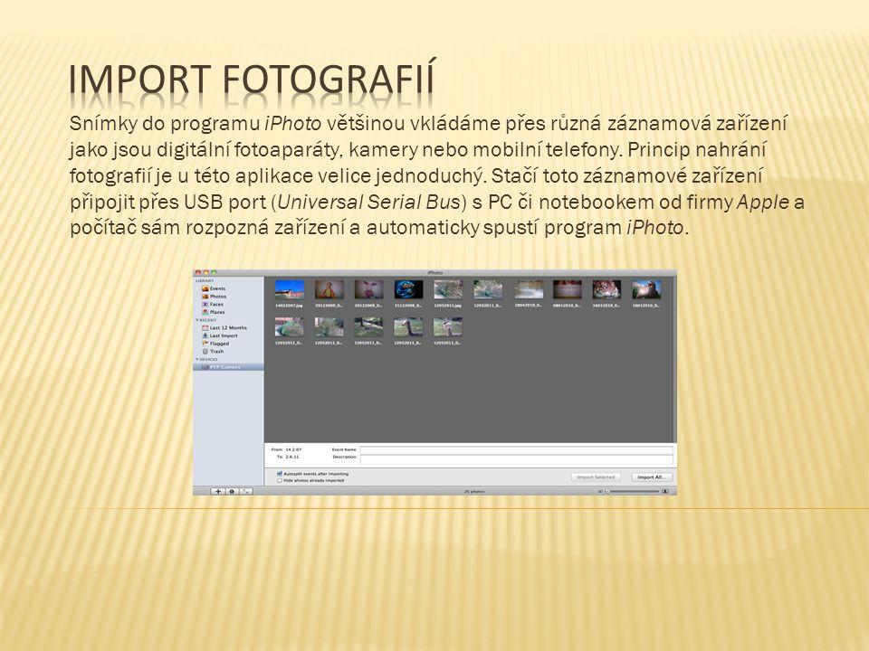 Po přenesení snímků se aplikace iPhoto přepne do záložky Last Import.