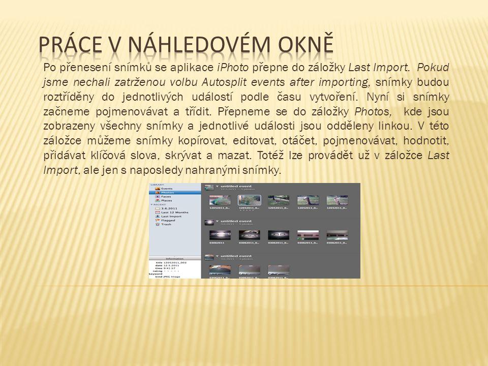 Záložka Faces umožňuje shromažďovat ze všech nahraných snímků ty, na kterých je lidská tvář a řadit je do jednoho alba.