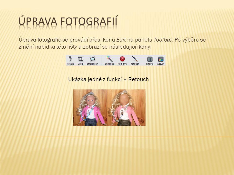 Úprava fotografie se provádí přes ikonu Edit na panelu Toolbar.