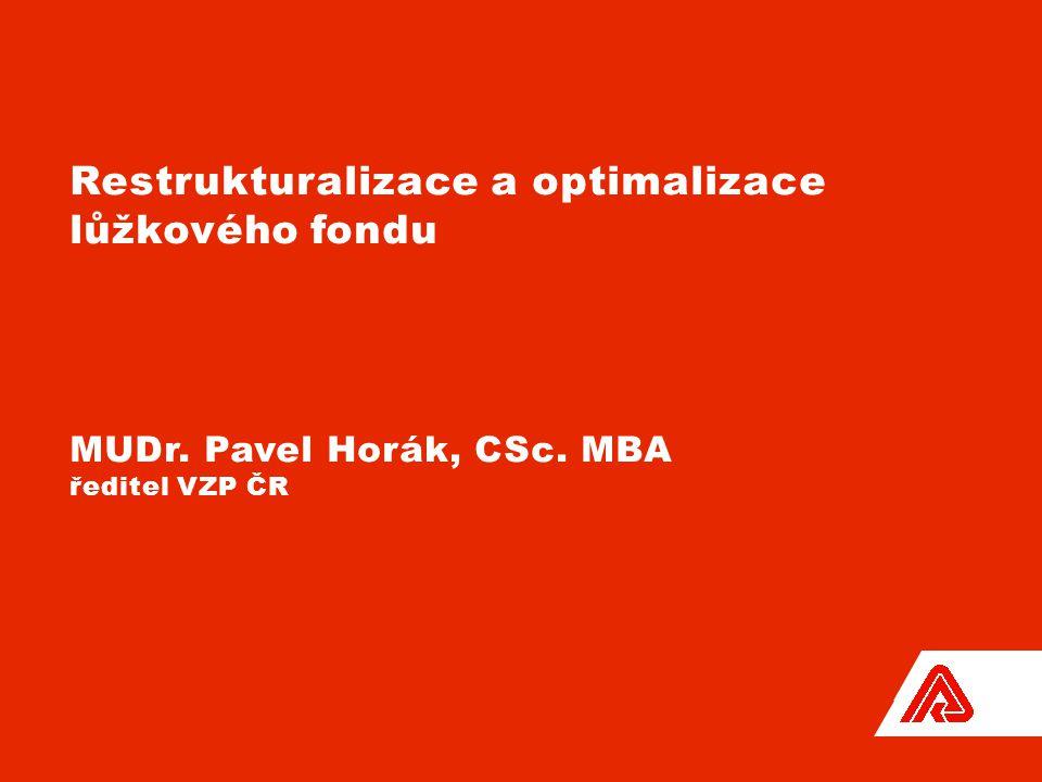 1 Restrukturalizace a optimalizace lůžkového fondu MUDr. Pavel Horák, CSc. MBA ředitel VZP ČR