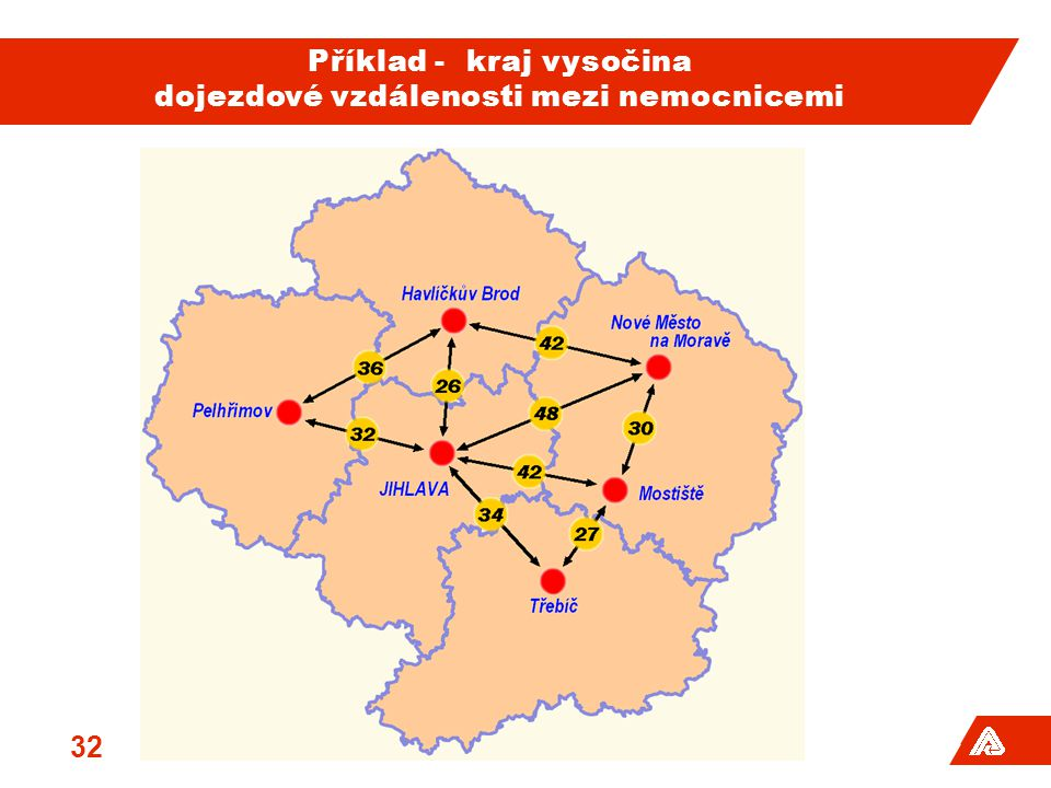 Příklad - kraj vysočina dojezdové vzdálenosti mezi nemocnicemi 32