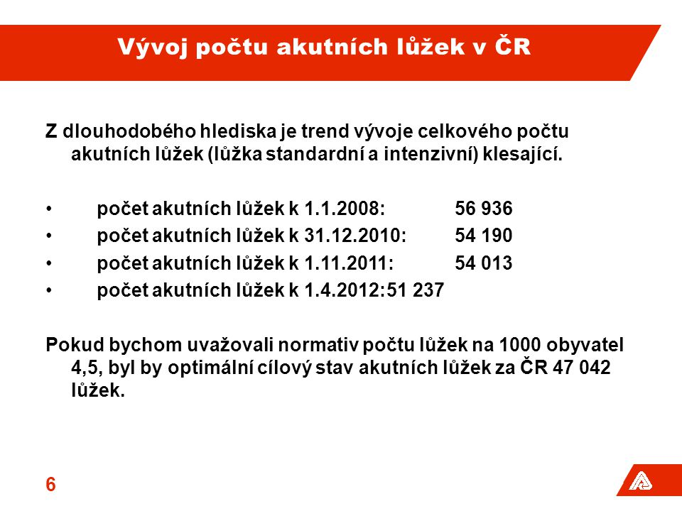 Vývoj počtu akutních lůžek v ČR Z dlouhodobého hlediska je trend vývoje celkového počtu akutních lůžek (lůžka standardní a intenzivní) klesající.