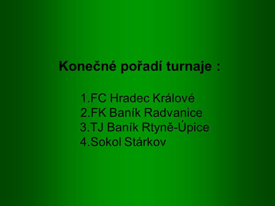 Konečné pořadí turnaje : 1.FC Hradec Králové 2.FK Baník Radvanice 3.TJ Baník Rtyně-Úpice 4.Sokol Stárkov
