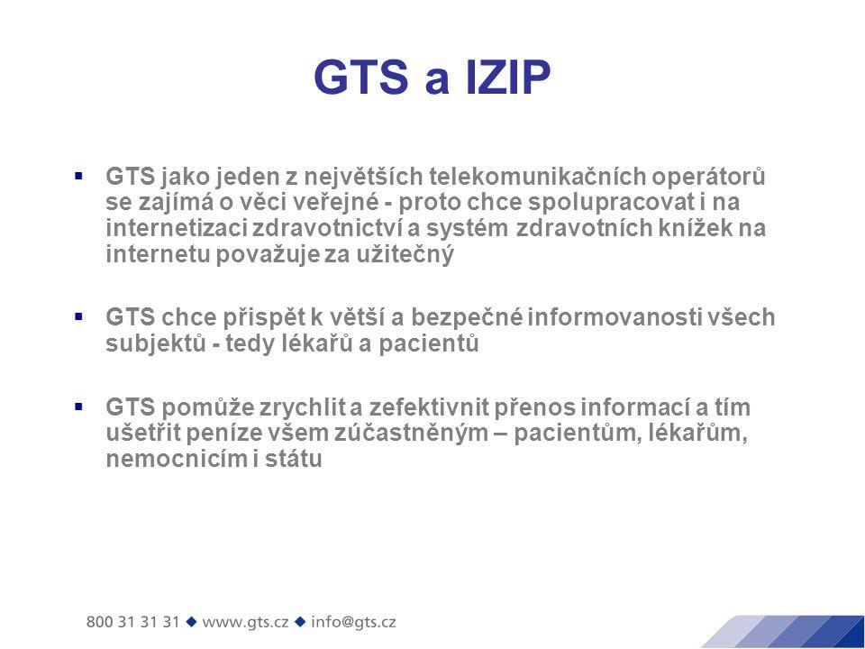 GTS a IZIP  GTS jako jeden z největších telekomunikačních operátorů se zajímá o věci veřejné - proto chce spolupracovat i na internetizaci zdravotnictví a systém zdravotních knížek na internetu považuje za užitečný  GTS chce přispět k větší a bezpečné informovanosti všech subjektů - tedy lékařů a pacientů  GTS pomůže zrychlit a zefektivnit přenos informací a tím ušetřit peníze všem zúčastněným – pacientům, lékařům, nemocnicím i státu