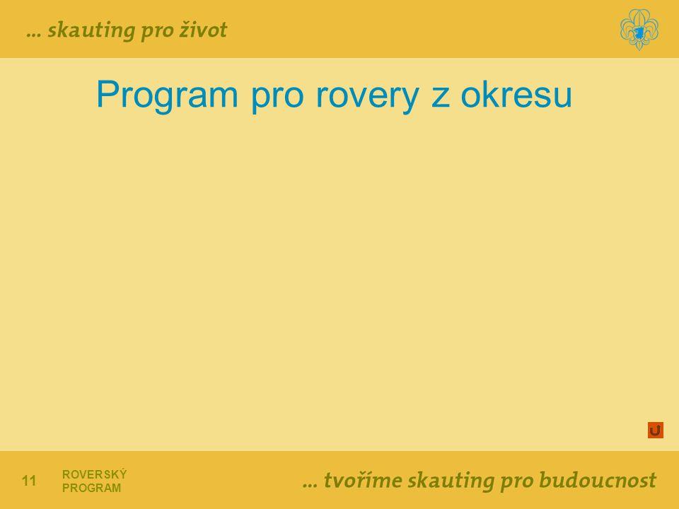11 ROVERSKÝ PROGRAM Program pro rovery z okresu