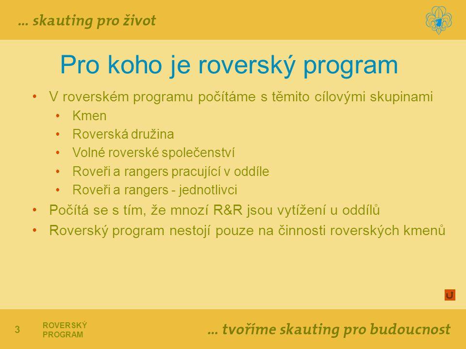 3 ROVERSKÝ PROGRAM Pro koho je roverský program V roverském programu počítáme s těmito cílovými skupinami Kmen Roverská družina Volné roverské společenství Roveři a rangers pracující v oddíle Roveři a rangers - jednotlivci Počítá se s tím, že mnozí R&R jsou vytížení u oddílů Roverský program nestojí pouze na činnosti roverských kmenů