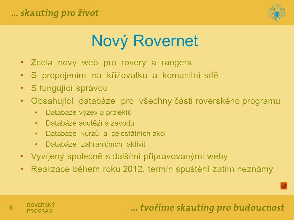 6 ROVERSKÝ PROGRAM Nový Rovernet Zcela nový web pro rovery a rangers S propojením na křižovatku a komunitní sítě S fungující správou Obsahující databáze pro všechny části roverského programu Databáze výzev a projektů Databáze soutěží a závodů Databáze kurzů a celostátních akcí Databáze zahraničních aktivit Vyvíjený společně s dalšími připravovanými weby Realizace během roku 2012, termín spuštění zatím neznámý