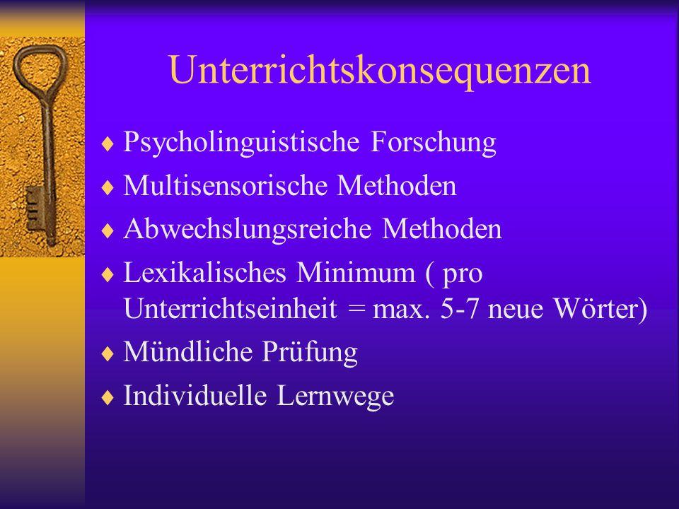 Unterrichtskonsequenzen  Psycholinguistische Forschung  Multisensorische Methoden  Abwechslungsreiche Methoden  Lexikalisches Minimum ( pro Unterrichtseinheit = max.