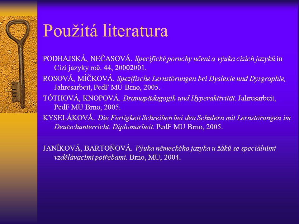 Použitá literatura PODHAJSKÁ, NEČASOVÁ.