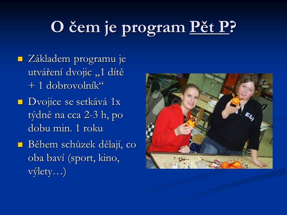 """O čem je program Pět P? Základem programu je utváření dvojic """"1 dítě + 1 dobrovolník"""" Základem programu je utváření dvojic """"1 dítě + 1 dobrovolník"""" Dv"""