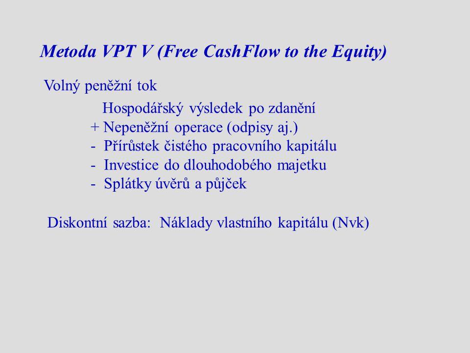 Metoda VPT V (Free CashFlow to the Equity) Volný peněžní tok Hospodářský výsledek po zdanění + Nepeněžní operace (odpisy aj.) - Přírůstek čistého pracovního kapitálu - Investice do dlouhodobého majetku - Splátky úvěrů a půjček Diskontní sazba: Náklady vlastního kapitálu (Nvk)