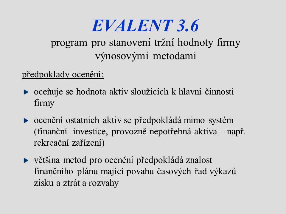 EVALENT 3.6 program pro stanovení tržní hodnoty firmy výnosovými metodami předpoklady ocenění: oceňuje se hodnota aktiv sloužících k hlavní činnosti firmy ocenění ostatních aktiv se předpokládá mimo systém (finanční investice, provozně nepotřebná aktiva – např.
