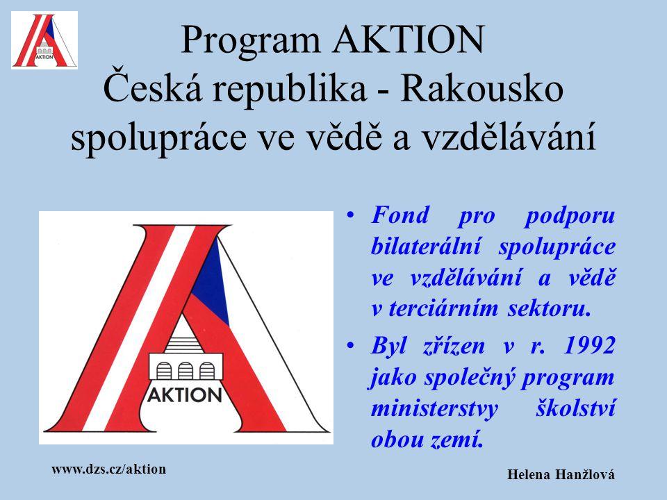 www.dzs.cz/aktion Helena Hanžlová Z prostředků programu AKTION se podporují: studijní a výzkumné pobyty projekty spolupráce Sommerkollegs a Summerschools