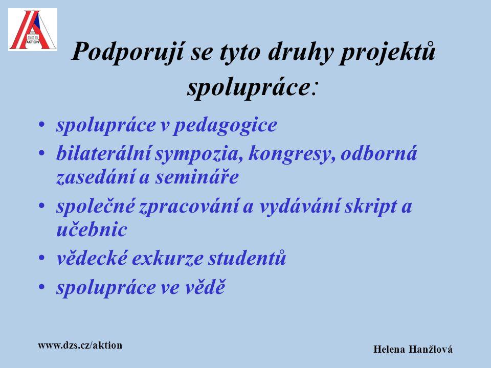 www.dzs.cz/aktion Helena Hanžlová Podporují se tyto druhy projektů spolupráce : spolupráce v pedagogice bilaterální sympozia, kongresy, odborná zasedá