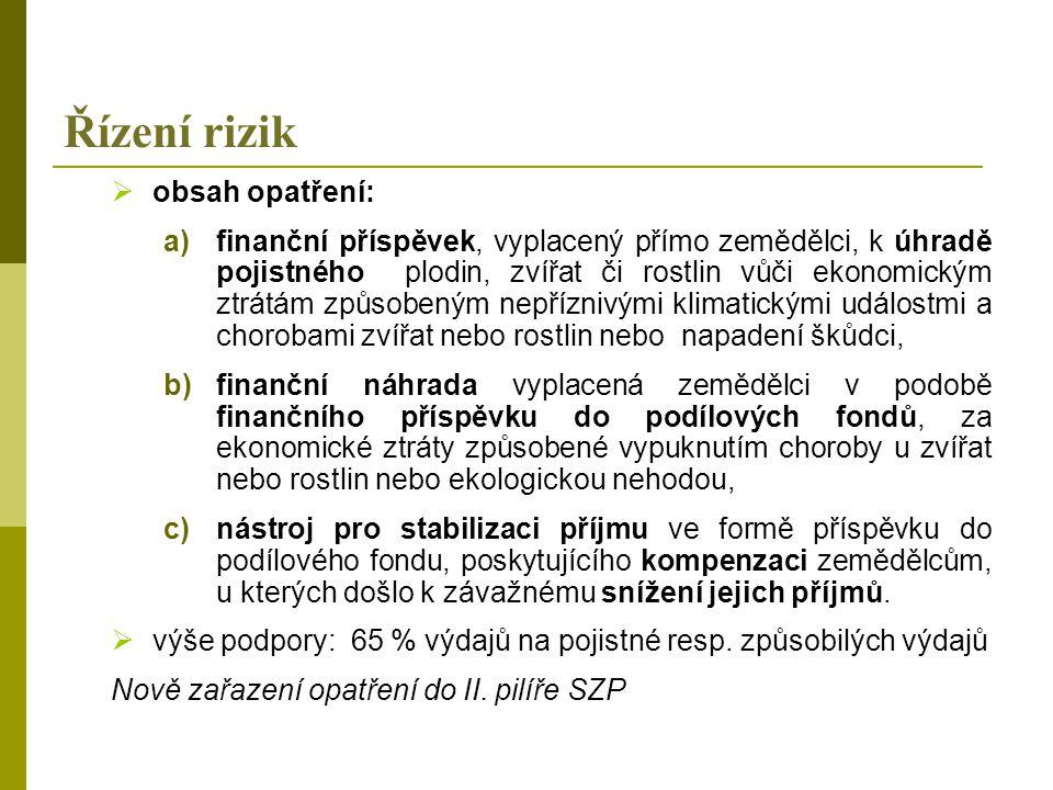 Řízení rizik  obsah opatření: a)finanční příspěvek, vyplacený přímo zemědělci, k úhradě pojistného plodin, zvířat či rostlin vůči ekonomickým ztrátám způsobeným nepříznivými klimatickými událostmi a chorobami zvířat nebo rostlin nebo napadení škůdci, b)finanční náhrada vyplacená zemědělci v podobě finančního příspěvku do podílových fondů, za ekonomické ztráty způsobené vypuknutím choroby u zvířat nebo rostlin nebo ekologickou nehodou, c)nástroj pro stabilizaci příjmu ve formě příspěvku do podílového fondu, poskytujícího kompenzaci zemědělcům, u kterých došlo k závažnému snížení jejich příjmů.