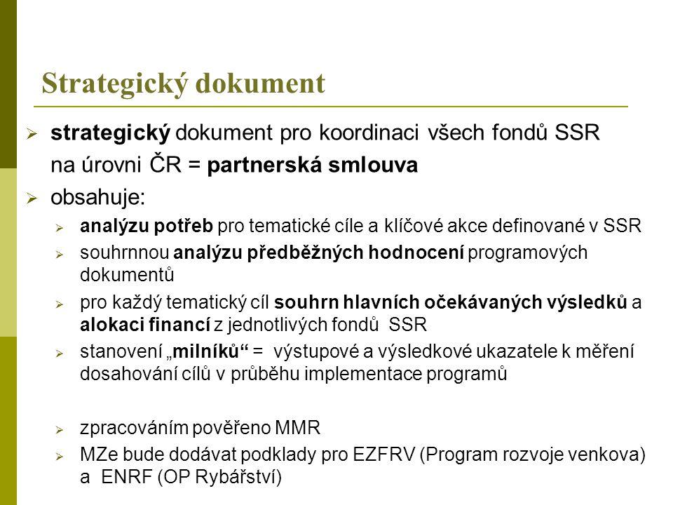 """Strategický dokument  strategický dokument pro koordinaci všech fondů SSR na úrovni ČR = partnerská smlouva  obsahuje:  analýzu potřeb pro tematické cíle a klíčové akce definované v SSR  souhrnnou analýzu předběžných hodnocení programových dokumentů  pro každý tematický cíl souhrn hlavních očekávaných výsledků a alokaci financí z jednotlivých fondů SSR  stanovení """"milníků = výstupové a výsledkové ukazatele k měření dosahování cílů v průběhu implementace programů  zpracováním pověřeno MMR  MZe bude dodávat podklady pro EZFRV (Program rozvoje venkova) a ENRF (OP Rybářství)"""