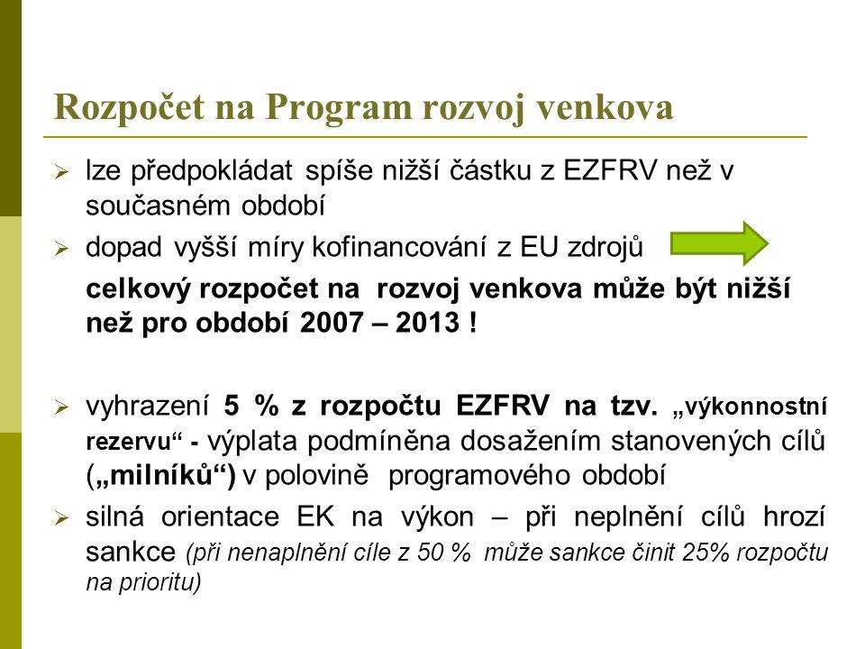 Rozpočet na Program rozvoj venkova  lze předpokládat spíše nižší částku z EZFRV než v současném období  dopad vyšší míry kofinancování z EU zdrojů celkový rozpočet na rozvoj venkova může být nižší než pro období 2007 – 2013 .