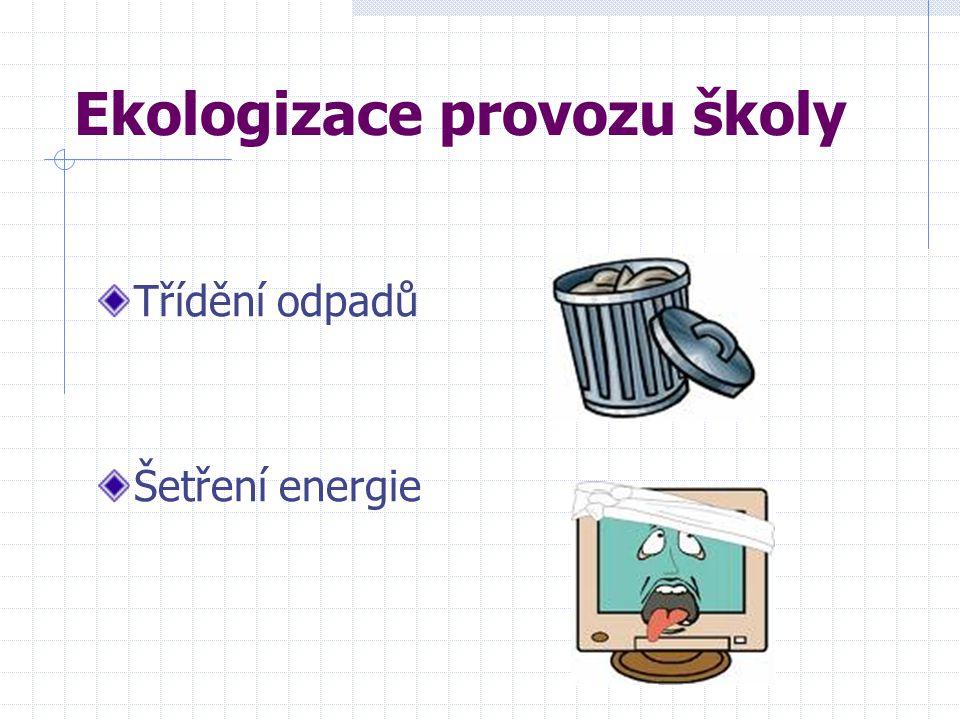 Ekologizace provozu školy Třídění odpadů Šetření energie