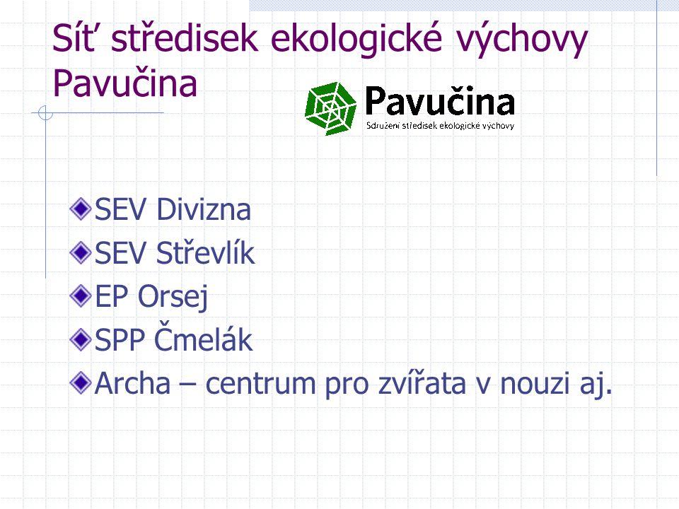 Síť středisek ekologické výchovy Pavučina SEV Divizna SEV Střevlík EP Orsej SPP Čmelák Archa – centrum pro zvířata v nouzi aj.